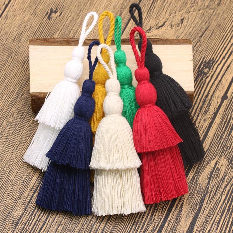 12cm Long Cotton Tassel 2 Layers Design Color Tassel for DIY Craft Phone Pendant Key Chain Hanging Bag Garment Decoration 1pcs