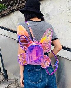 Image 5 - موضة المرأة الليزر المجسم الجلود حقيبة ظهر صغيرة فراشة أجنحة الملاك Daypack للفتيات السفر حقيبة مدرسية Daypack عادية