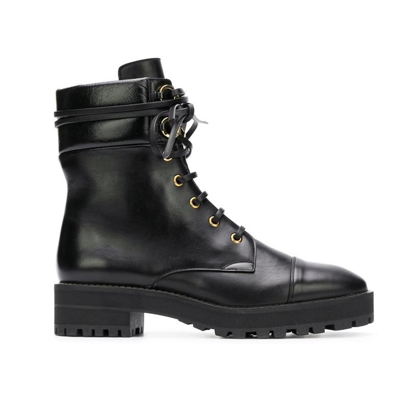 Botas Mujer gothique noir bottines pour femme à lacets Combat militaire bottes femme bas talon épais moto Bot Punk chaussures - 2