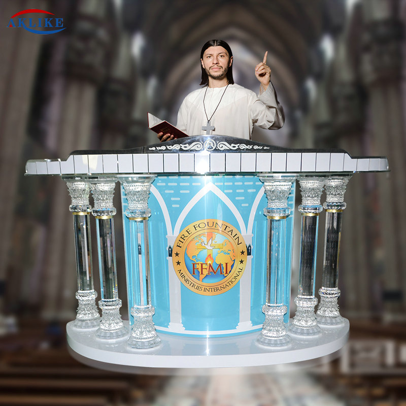 Modern Clear Exquisite Crystal Column Church Pulpit Podiums AKLIKE Acrylic Glass Furniture Bishop Acrylic Speech Lectern