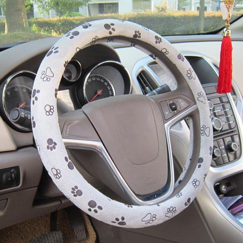 38cm Cute Paw Foot Print Anti-Slip Car Steering Wheel Cover Interior Accessories