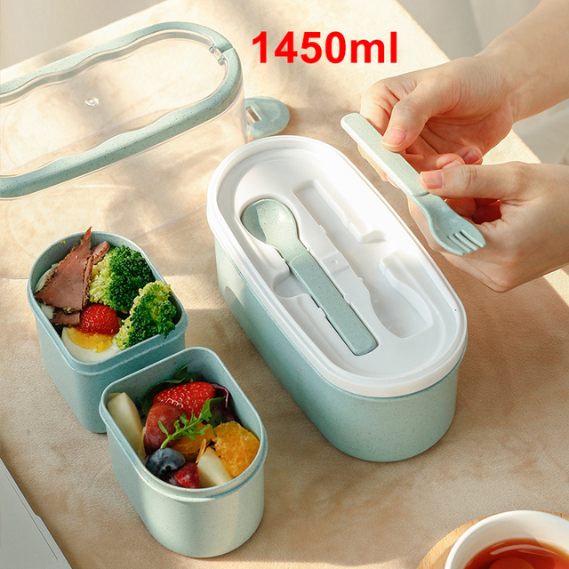 1450ML lunch box high food container eco friendly bento box  lunch japanese food box lunchbox meal prep containers wheat straw