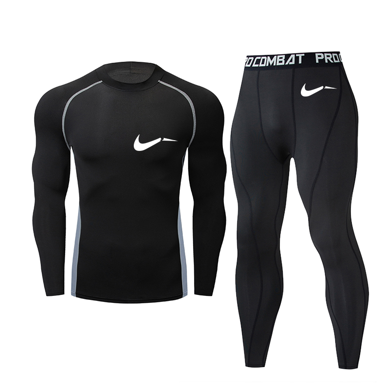 Fashion New Brand Men's Sports Suit Compression T-shirt Clothing Fitness Training Quick-drying Clothes MMA Men's T-shirt Tops