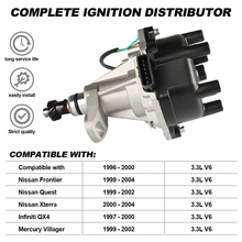 Ignition Distributor with Cap and Rotor for Nissan Pathfinder Frontier Xterra Quest 1996-2004 3.3L 6V 22100 Repalcement