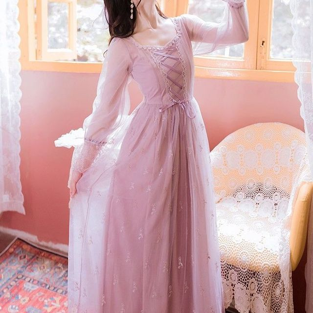 Pink_Elegant_Dress_Women_Autumn_Sweet_Floral_Midi_Dress_Female_Casual_Lace_Chiffon_Bandage_Fairy_Dre 1