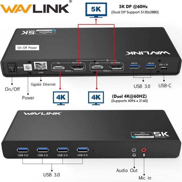 Wavlink العالمي USB 3.0 محطة لرسو السفن USB C المزدوج 4K الترا قفص الاتهام DP Gen1 نوع C جيجابت إيثرنت تمديد ووضع الفيديو مرآة