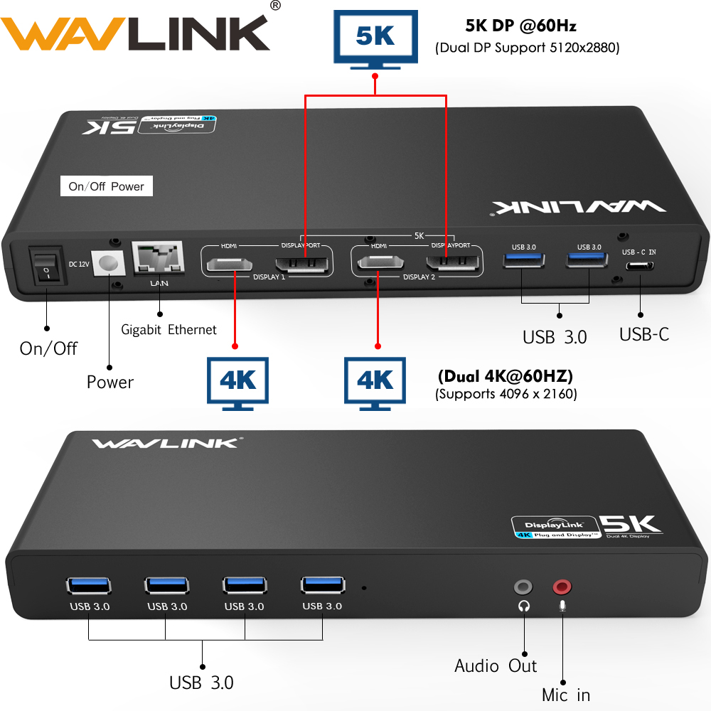Wavlink Universal USB 3.0 Docking Station USB-C Dual 4K Ultra Dock DP Gen1 Type-C Gigabit Ethernet Extend And Mirror Video Mode