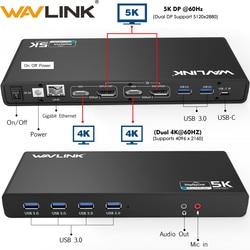 Wavlink Universele Usb 3.0 Docking Station USB-C Dual 4K Ultra Dock Dp Gen1 Type-C Gigabit Ethernet Verlengen en Spiegel Video Modus