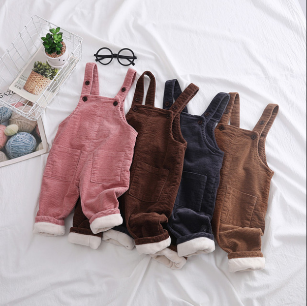 New Children Kids Overalls Pants Boys Girls Pocket Corduroy Overalls Jumpsuits Baby Clothing Jumpsuits Girls Overall