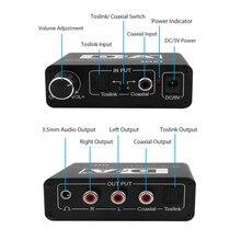 محول رقمي 24 بت إلى تناظري 3.5 جاك RCA DAC Spdif مضخم فك الترميز من الألياف البصرية المحورية لسماعة الرأس مع مقبض صوت