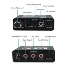 24 Bit Digital Analog Konverter 3,5 Jack RCA DAC Spdif Verstärker Decoder Optische Fiber Coaxial Für Kopfhörer Mit Volumen knopf