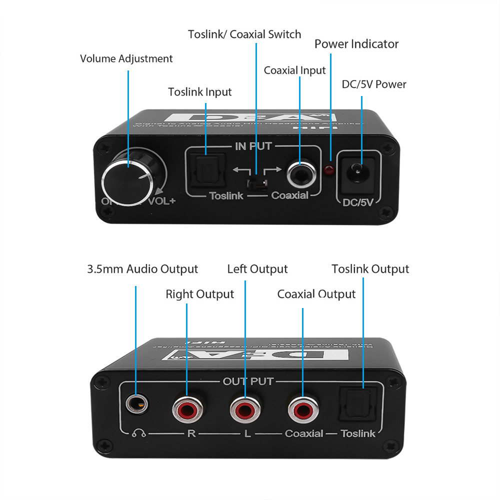 24 Bit Digital to Analog Converter 3.5 Jack RCA DAC Spdif Amplifier Decoder Optical Fiber Coaxial For Headphone With Volume Knob