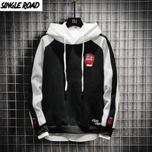 SingleRoad Mens Hoodies 2020 Spring Patchwork Pullover Sweatshirt Male Hip Hop Harajuku Japanese Streetwear Black Hoodie Men