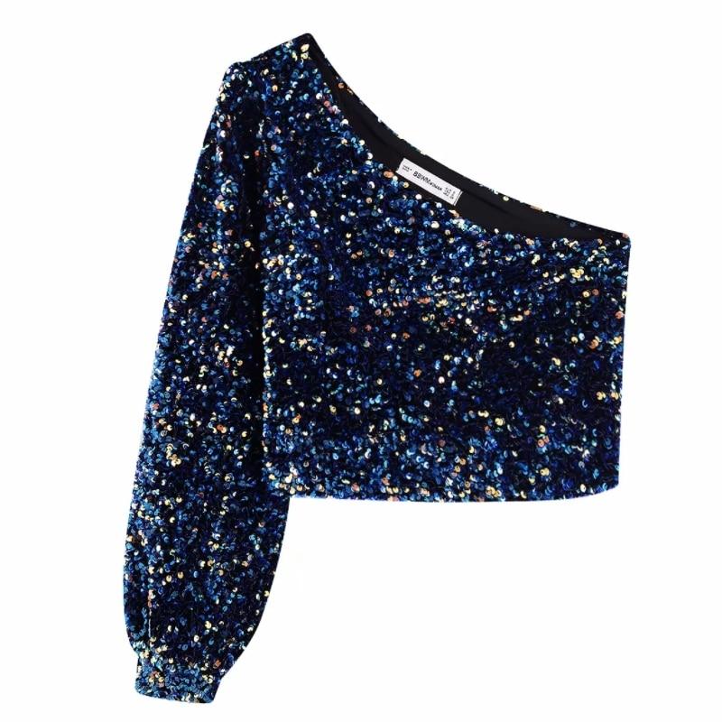 2020 Women Sequins Decoration Asymmetry Single Shoulder Shirts Female Nine Quarter Sleeve Roupas Leisure Blouse Chic Tops LS6115