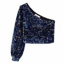 2020 frauen Pailletten Dekoration Asymmetrie Einzel schulter Shirts Weibliche Neun Viertel Sleeve Roupas Freizeit Bluse Chic tops LS6115