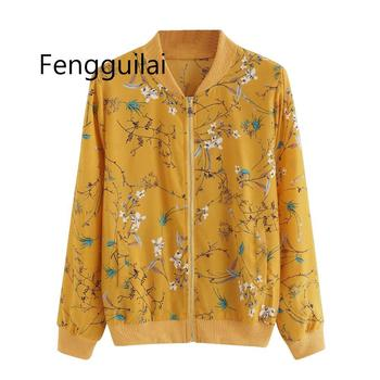 fashion Women Fashion  Bomber Jacket Casual Zipper Up Flower Printed Baseball Coat Ladies Autumn Outwear Women Tops Yellow