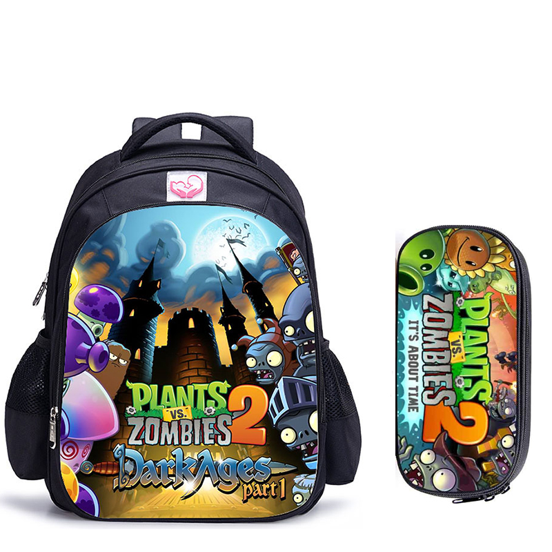 16 Inch Plants VS Zombie School Backpack Hot Game School Backpack For Girls Boys Book Bag Shoulder Backpacks Mochila Infantil