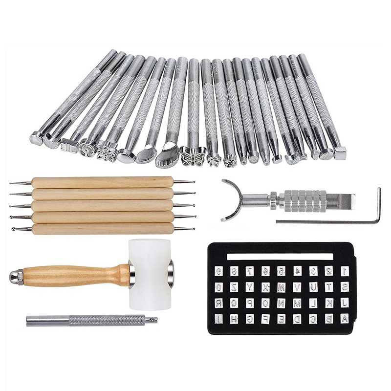 Stamping Tool for Embossing Special-shaped Stamp Patterns Silver 20pcs Leather Craft Kit Leather Stamping Styling Tool for Leather Crafting Diy Leather Processing Hammer Printing Engraving