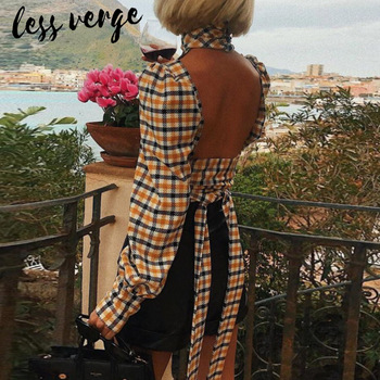 lessverge Casual yellow plaid women blouse shirt Vintage long sleeve office ladies top Autumn winter backless sexy blusas mujer cotton long shirt fashion plaid turn down collar full sleeve office lady autumn women blouse plus size casual blusas student top