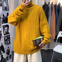 Зимний плотный свитер с высоким воротником мужской теплый Модный