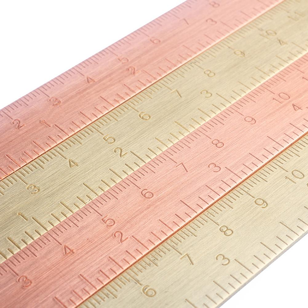 1pc 15Cm Brass Ruler Bookmark Chancery Rose Gold Measuring Straight Ruler For School Stationery Metal Painting Drawing Tools