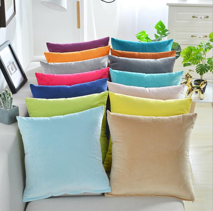 Fyjafon 2pcs Pillowcase 60x60 Velvet Cushion Cover Pure Color Soft Pillow Case Living room Decorative Pillowcases