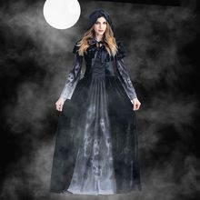 Для взрослых женщин Хэллоуин страшная ведьма косплей толстовки костюмы женский вампир бог смерти Грим жнец длинное платье вечерние костюмы Хэллоуин Страшные костюмы для косплея Толстовка костюм ведьмы Грим жнец женское