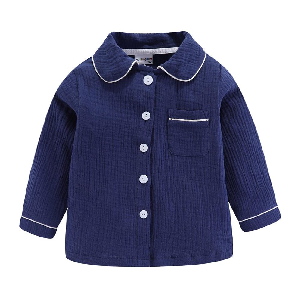 Mudkingdom Boys Pajamas Set Plain Collared Long Sleeve Spring Autumn Kids Sleepwear Clothes Set 3