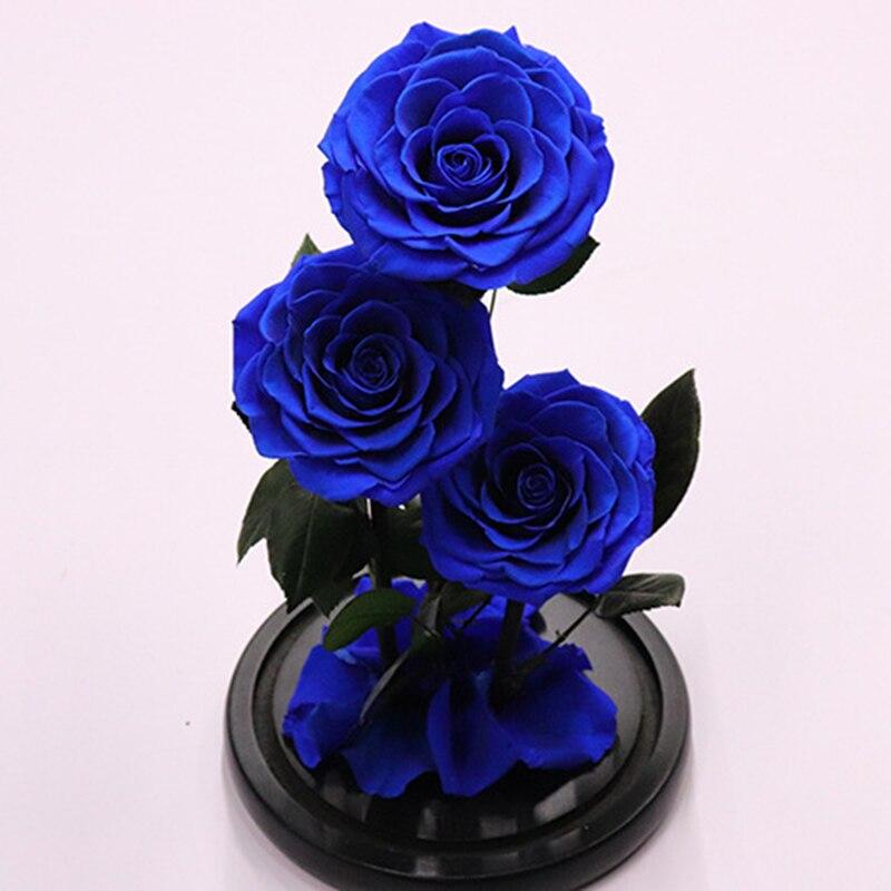 Вечные цветы сушеные цветы сохраненные свежие цветы живая Роза стеклянный купол подарочная коробка синий - 2