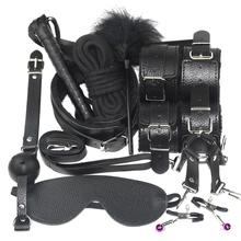 10 sztuk zestaw Sex produkty zabawki erotyczne dla dorosłych BDSM Sex Bondage zestaw kajdanki zaciski na sutki Gag Whip Rope zabawki erotyczne dla par tanie tanio CN (pochodzenie) Zestaw akcesoriów NYLON Skóra syntetyczna sex handcuffs