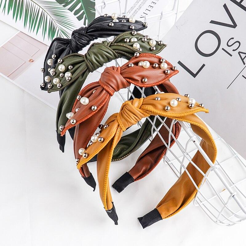Chen Yan Pearl Fashion Headband Bow Knot Headbands Girl New Hairband FG1940