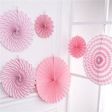 6 шт. бумажный веер набор розочек фото бумага для фона Pinwheel вечерние принадлежности для свадьбы День рождения, детский душ Декор