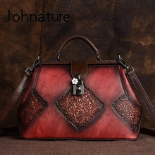 Johnature Retro Embossing Women Handbag Hand Brushing 2020 New Handmade Large Capacity Cowhide Female Shoulder&Crossbody Bags