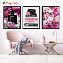 Fashion Paris wall art canvas painting Nordic Perfume Flower Book Handbag posters and prints For Living Room unframed