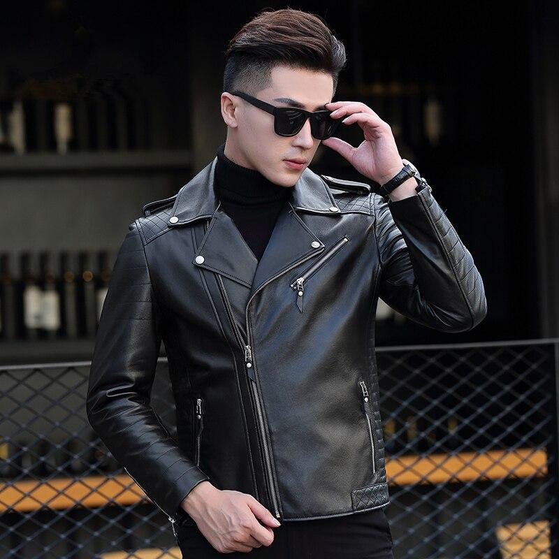 Genuine Leather Jacket Men Clothes Sheepskin Coat Autumn Winter Leather Jackets Chaqueta Cuero Hombre P-18-12108 ZL891