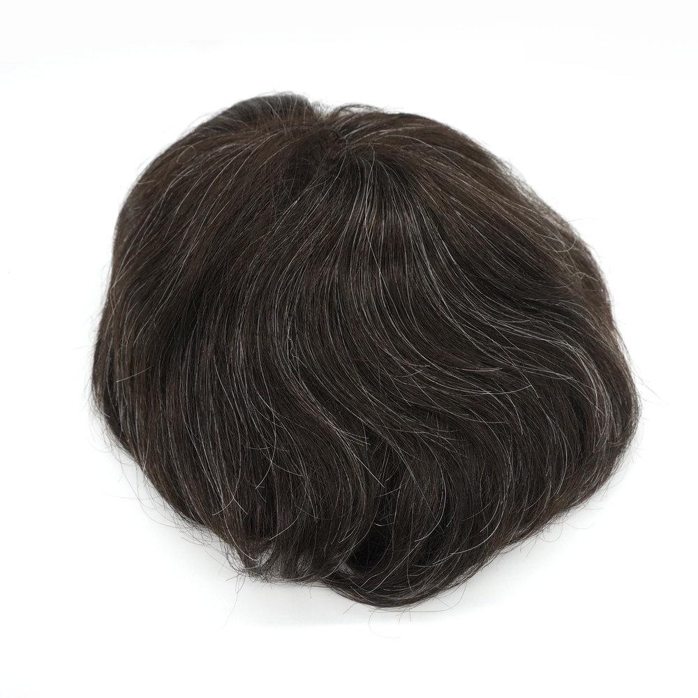 Hstonir Human Hair Men Wig Disposable Toupee Indian Remy Hair Replacement Super Thin Skin Hair System H078