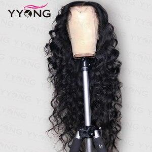 YYong 1x6 парики из натуральных волос на кружеве, свободные, глубокие, прозрачные, фронтальные Человеческие волосы Remy, малазийские человеческие...