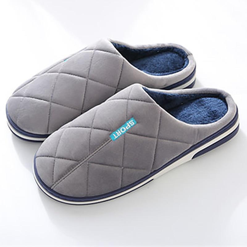 Slippers Men Winter Keep Warm Big Size 45-49 Striped Home Shoes Man Memory Foam Antiskid Short Plush Cozy Indoor Men Slippers