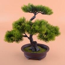 Искусственное искусственное зеленое растение бонсай в горшке, имитация сосны для украшения дома и офиса