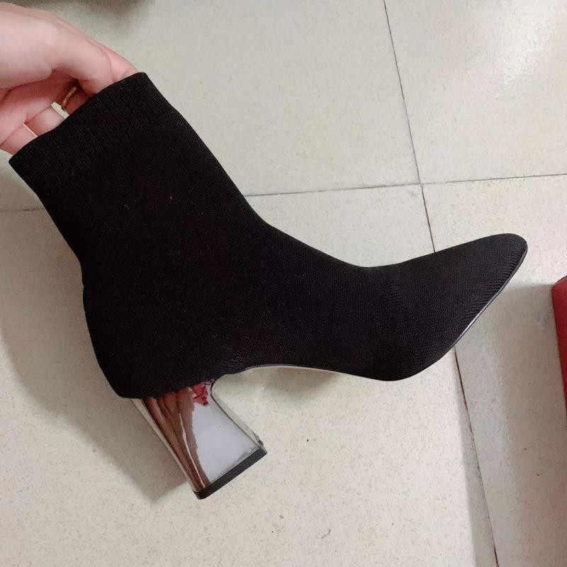 JAWAKYE Kadın Siyah Ayak Bileği Çorap 2019 Moda Bahar Sonbahar sıcak Çizmeler Tıknaz Yüksek Topuklu Sivri Burun Örme Bayan Ayakkabıları