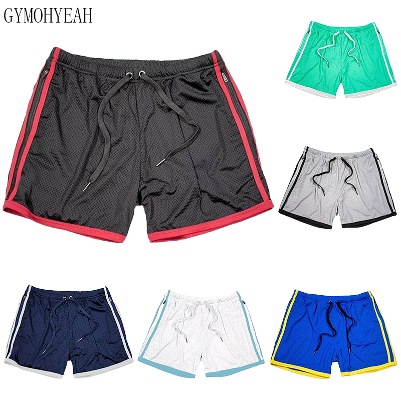 Men Fitness Bodybuilding Shorts Man Zip Pocket Gyms Workout Male Breathable Mesh Quick Dry Sportswear Jogger Beach Short Pants
