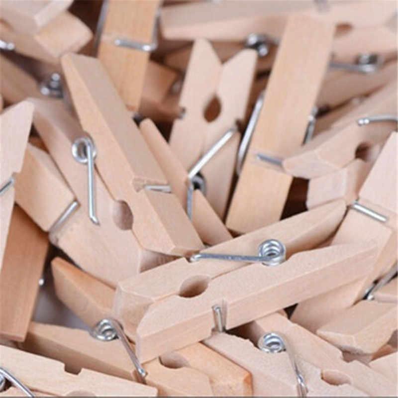 50pcs x 25mm Mini Vestiti Spilla di Legno Photo Paper Molletta da bucato In Legno Naturale di Colore Mestiere Cartolina Decorazione Della Clip foto Della Parete di Clip