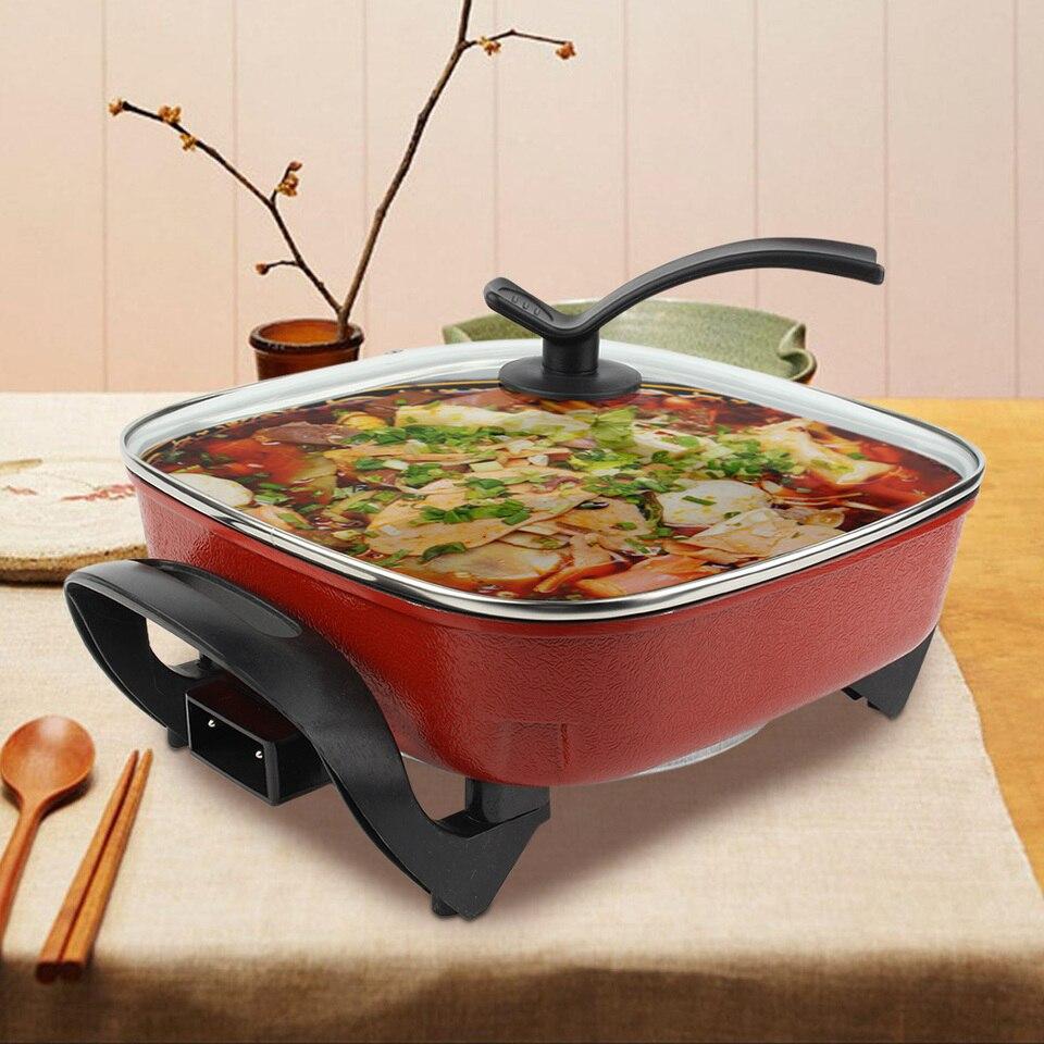 UK Plug 220V Multifunction Electric Cooker Quartet Pot Multifunctional Electric Cooker Non-Stick Square Pot for Home Kitchen
