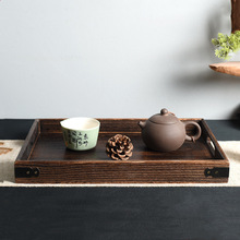 Retro Solid Wooden Storage Tray Tableware Dinner Breakfast Teapot Holder Tray Rectangular Fruit Snack Plate For Home Hotel