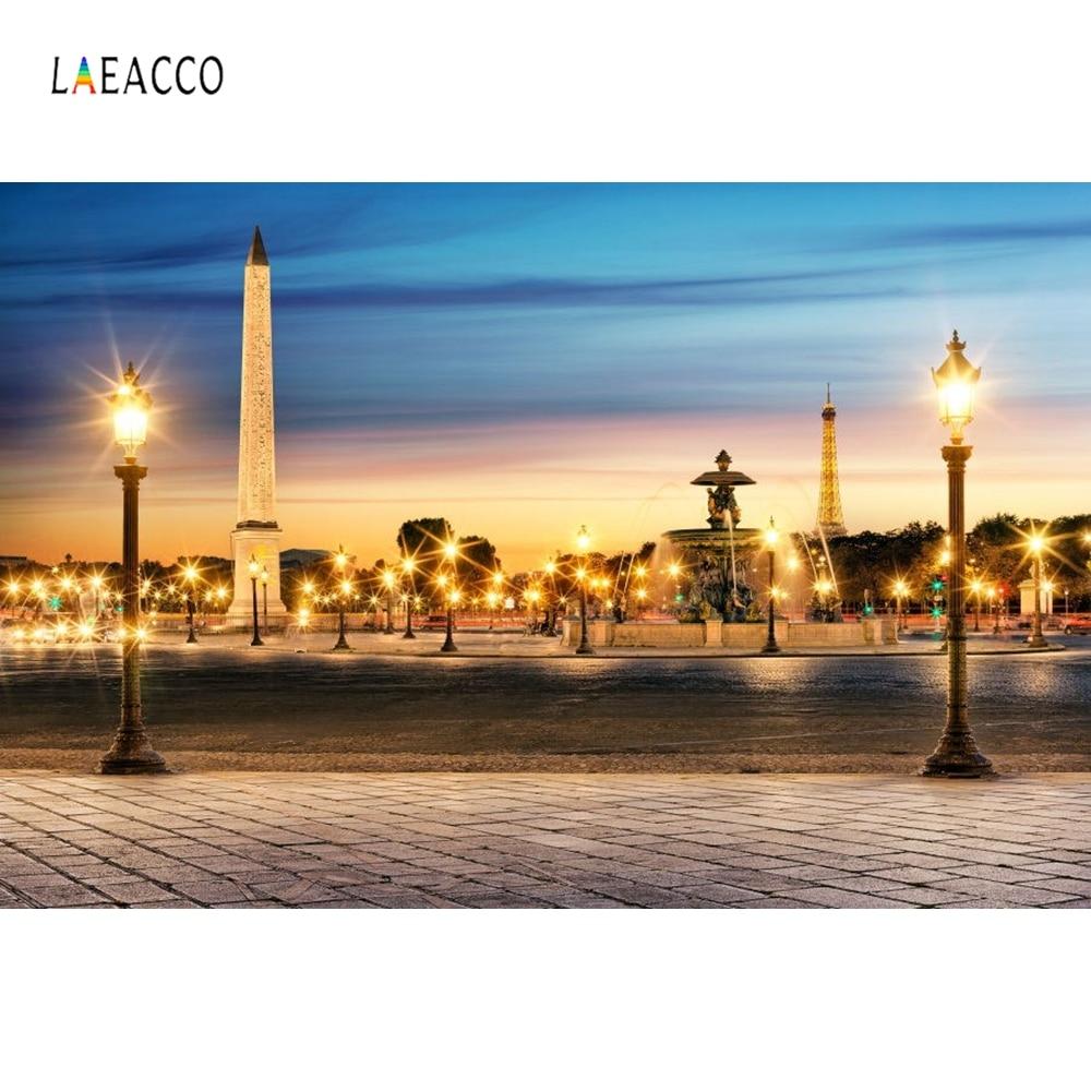 Laeacco Paris nuit vue lampes carrées paysage photographie décors vinyle toile de fond arrière-plans Photo personnalisés pour Studio Photo