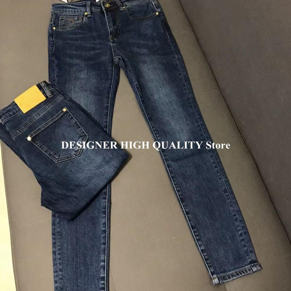 Skinny Jeans Runway-Design Denim Pants Blue Casual Fashion Women New Ankle-Length Pencil