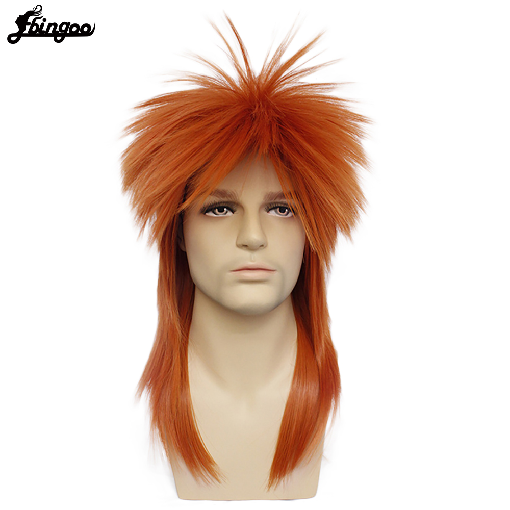 Ebingoo 80s Halloween Costume Rocking Dude Punk Metal Rocker Disco Mullet Synthetic Cosplay Wig Long Straight Orange Rocker Wig
