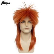 Ebingoo 80s déguisement dhalloween à bascule mec Punk métal Rocker Disco mulet synthétique Cosplay perruque longue droite Orange Rocker perruque
