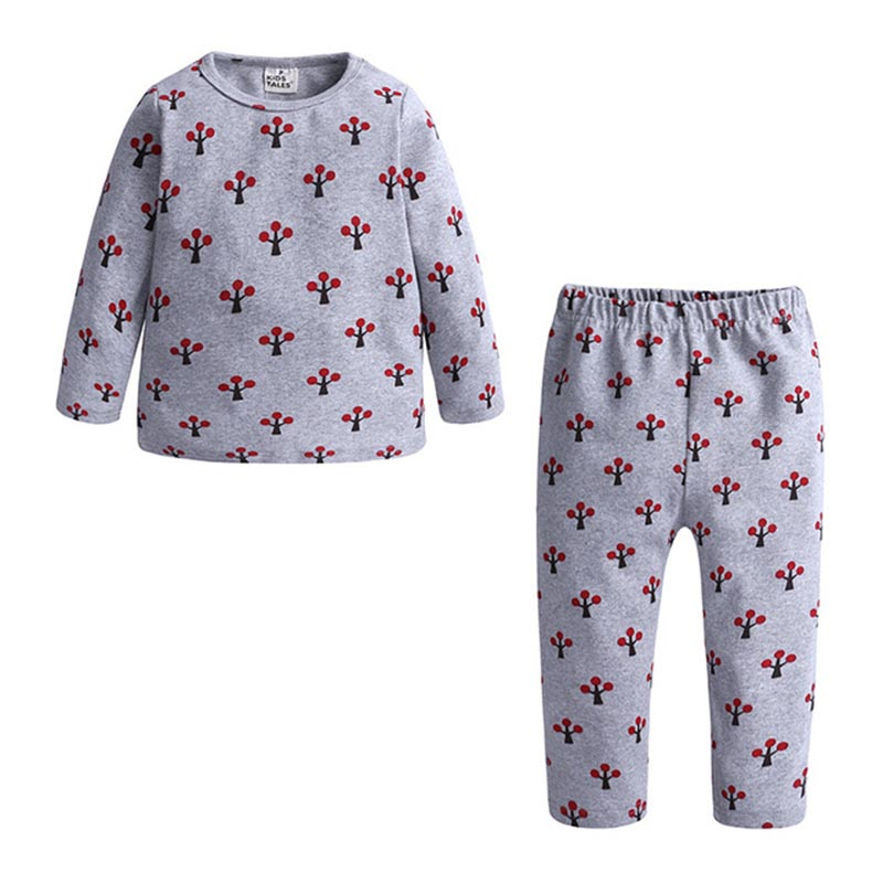 Spring Autumn New Knitted Cotton Homewear Suit Cute Printed 4 Colos 2PCS Girl Boy Long Sleeve Top Trousers Casual Pajama Outfit 5