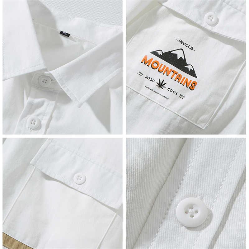 UnaReta גברים של חולצה סתיו חדש מותג אופנה צבע תפרים גברים חולצה Streetwear ארוך שרוול אחת-breastd רטרו מזדמן חולצות